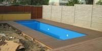 Decking bazéna materiál WPC Luna farba ( Tmavo hnedá )