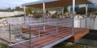 Drevenná terasa materiál ( Cumaru ) prístrešok,zábradlie nerez