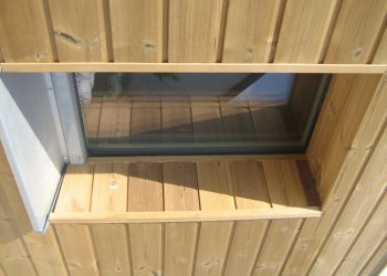 Detail obkladu okna materiák ( Termo borovica )