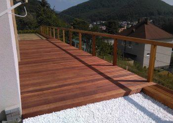 Drevenná terasa materiál ( Kempas) zábradlie ( Céder,nerez ) _