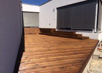 Drevenná terasa materiál ( S.Smrekovec náter Teak )
