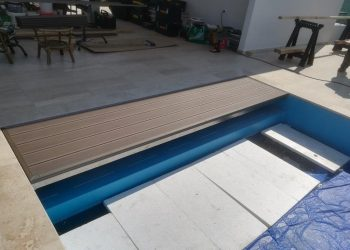 Prekritie rolovacieho sistému bazéna materiál ( WPC Luna,nerez lyšta )
