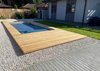 drevená terasa bazéna materiál ( Garapa ),